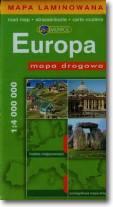 Europa mapa drogowa 1:4000 000 laminowana