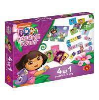 4 w 1 Dora Poznaje świat Puzzle i 3 gry