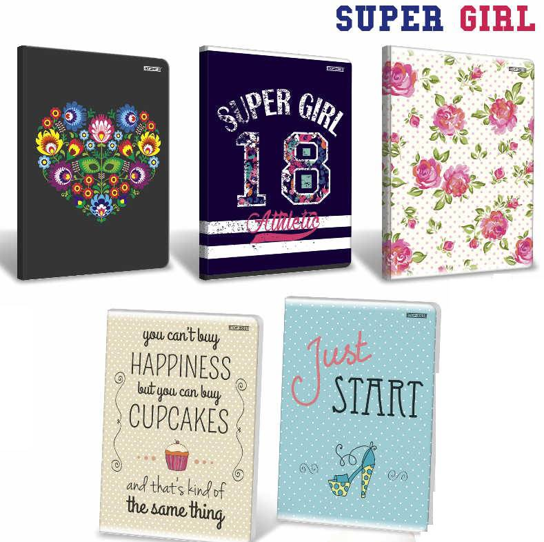Zeszyt A5 80 kartkowy linia z marginesem TOP2000 SUPER GIRL
