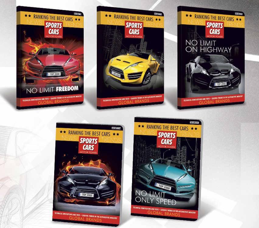 Zeszyt A5 16 kartkowy linia podwójna kolorowa TOP2000 SPORTS CARS