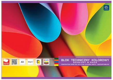 Blok techniczny A4 kolor barwiony w masie
