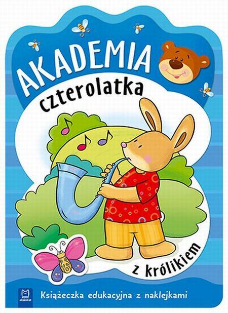 Akademia czterolatka z królikiem Książeczka edukacyjna z naklejkami
