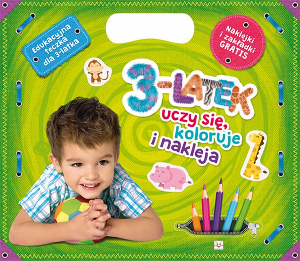 3-latek uczy się koloruje i nakleja. Edukacyjna teczka dla 3-latka