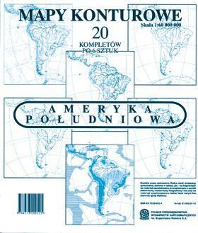 Ameryka Południowa. Zestaw sześciu map konturowych 1:60 000 000