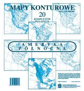 Ameryka Północna. Zestaw sześciu map konturowych 1:60 000 000